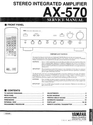 YAMAHA AX-570 STEREO INTEGRATED AMPLIFIER SERVICE MANUAL INC BLK DIAG PCB'S SCHEM DIAGS AND PARTS LIST 27 PAGES ENG