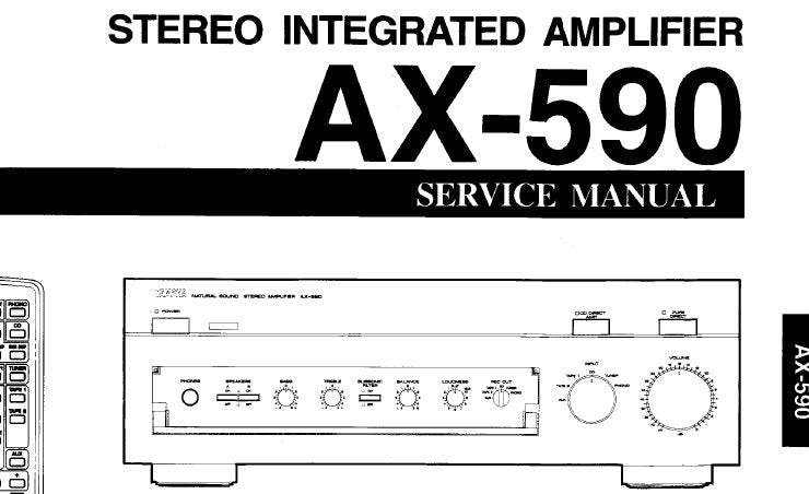 YAMAHA AX-590 STEREO INTEGRATED AMPLIFIER SERVICE MANUAL INC BLK DIAG PCB'S  SCHEM DIAGS AND PARTS LIST 23 PAGES ENG