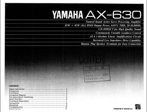 YAMAHA AX-630 ACTIVE SERVO PROCESSING AMPLIFIER OWNER'S MANUAL INC CONN DIAGS AND TRSHOOT GUIDE 12 PAGES ENG