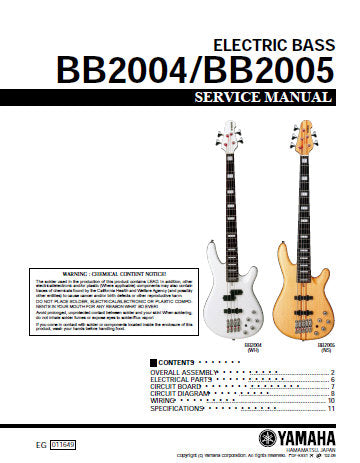 YAMAHA BB2004 BB2005 ELECTRIC BASS SERVICE MANUAL INC PCBS CIRC DIAGS WIRING DIAGS AND PARTS LIST 11 PAGES ENG
