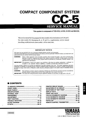 YAMAHA CC-5 COMPACT COMPONENT SYSTEM SERVICE MANUAL INC PCBS BLK DIAGS PCBS SCHEM DIAGS AND PARTS LIST 79 PAGES ENG