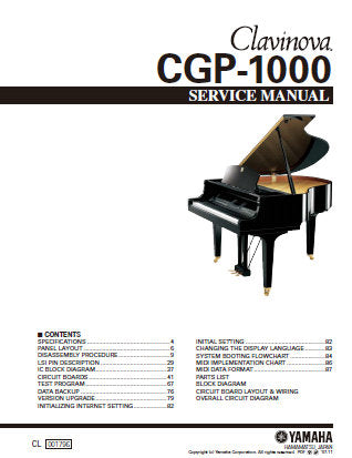 YAMAHA CGP-1000 CLAVINOVA SERVICE MANUAL INC PCBS CIRC DIAGS AND PARTS LIST 193 PAGES ENG
