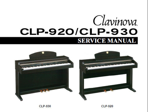 YAMAHA CLP-920 CLP-930 CLAVINOVA SERVICE MANUAL INC BLK DIAG PCBS SCHEM DIAGS AND PARTS LIST 88 PAGES ENG