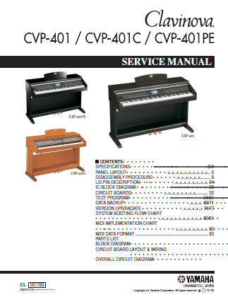 YAMAHA CVP-401 CVP-401C CVP-401PE CLAVINOVA SERVICE MANUAL INC PCBS TRSHOOT GUIDE CIRC DIAGS AND PARTS LIST 159 PAGES ENG
