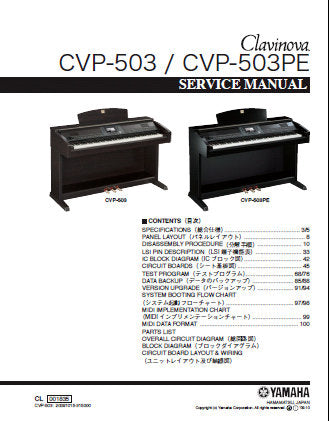 YAMAHA CVP-503 CVP-503PE CLAVINOVA SERVICE MANUAL INC PCBS BLK DIAG CIRC DIAGS AND PARTS LIST 189 PAGES ENG