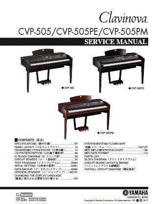 YAMAHA CVP-505 CVP-505PE CVP-505PM CLAVINOVA SERVICE MANUAL INC PCBS TRSHOOT GUIDE BLK DIAG CIRC DIAGS AND PARTS LIST 205 PAGES ENG