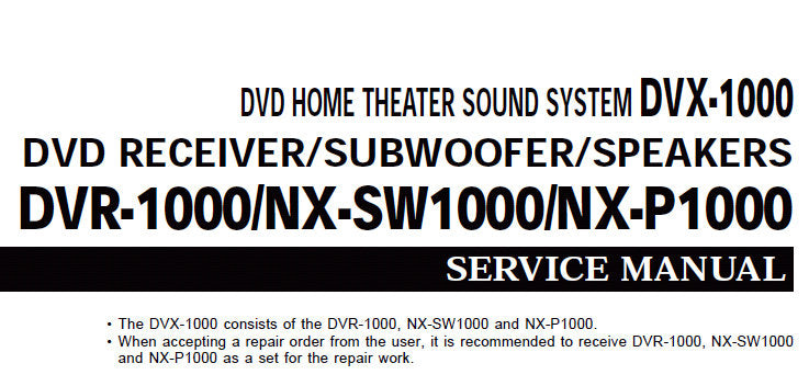YAMAHA DVR-1000 NX-SW1000 NX-P1000 DVX-1000 DVD HOME THEATER SOUND SYSTEM SERVICE MANUAL INC BLK DIAGS WIRING DIAG PCBS SCHEM DIAGS AND PARTS LIST 86 PAGES ENG