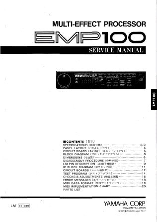 YAMAHA EMP100 MULTI-EFFECT PROCESSOR SERVICE MANUAL INC BLK DIAG PCB OVERALL CIRC DIAG AND PARTS LIST 25 PAGES ENG JAP
