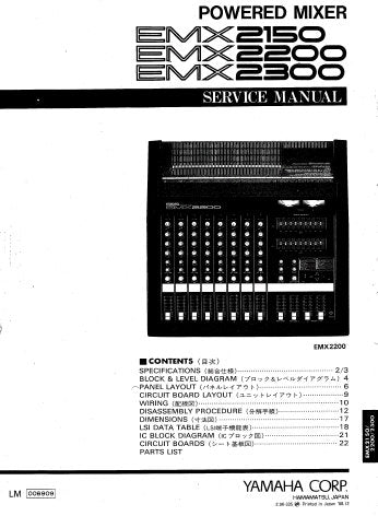YAMAHA EMX2150 EMX2200 EMX2300 POWERED MIXER SERVICE MANUAL INC BLK AND LEVEL DIAGS WIRING DIAG PCBS OVERALL CIRC DIAG AND PARTS LIST 39 PAGES ENG JAP