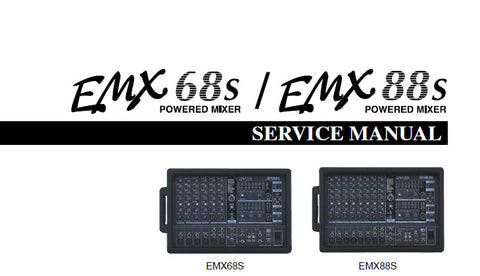 YAMAHA EMX88s EMX68s POWERED MIXER SERVICE MANUAL INC CIRC BOARD AND LAYOUT WIRING DIAG BLK AND LEVEL DIAG PCBS OVERALL CIRC DIAGS AND PARTS LIST 109 PAGES ENG