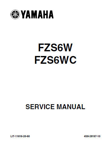 YAMAHA FZS6W FZS6WC FAZER MOTORCYCLE SERVICE MANUAL INC CHECKS AND ADJUSTMENTS CHASSIS ENGINE COOLING SYSTEM FUEL SYSTEM ELECTRICAL SYSTEMS TRSHOOT GUIDE AND WIRING DIAG 394 PAGES ENG