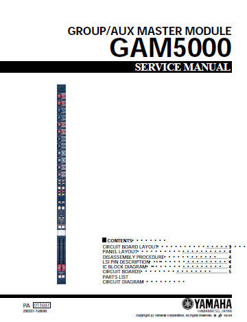 YAMAHA GAM5000 GROUP AUX MASTER MODULE SERVICE MANUAL INC CIRC DIAGS AND PARTS LIST 31 PAGES ENG 日本人