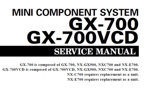 YAMAHA GX-700 GX-700VCD MINI COMPONENT SYSTEM SERVICE MANUAL INC BLK DIAG PCBS SCHEM DIAGS AND PARTS LIST 93 PAGES ENG