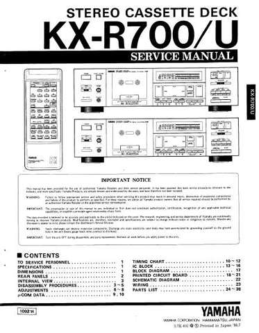 YAMAHA KX-R700 KX-R700U STEREO CASSETTE DECK SERVICE MANUAL INC BLK DIAG PCBS SCHEM DIAGS AND PARTS LIST 40 PAGES ENG