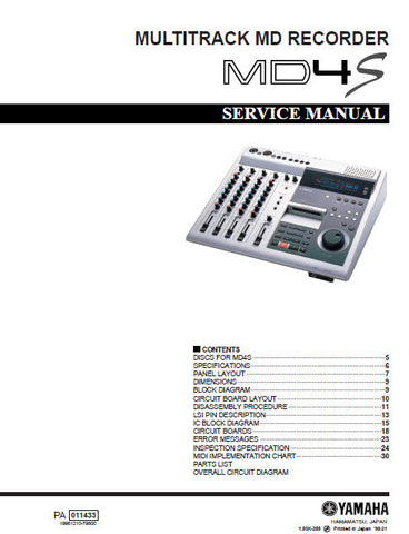 YAMAHA MD4S MULTITRACK MD RECORDER SERVICE MANUAL INC BLK DIAGS PCBS SCHEM DIAGS AND PARTS LIST 48 PAGES ENG