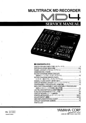 YAMAHA MD4 MULTITRACK MD RECORDER SERVICE MANUAL INC BLK DIAGS PCBS SCHEM DIAGS AND PARTS LIST 80 PAGES ENG