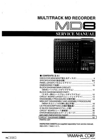 YAMAHA MD8 MULTITRACK MD RECORDER SERVICE MANUAL INC BLK DIAGS PCBS SCHEM DIAGS AND PARTS LIST 163 PAGES ENG