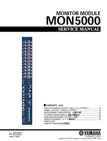 YAMAHA MON5000 MONITOR MODULE SERVICE MANUAL INC SCHEM DIAGS AND PARTS LIST 42 PAGES ENG JAP