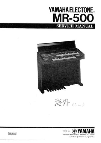 YAMAHA MR-500 ELECTONE SERVICE MANUAL INC BLK DIAG PCBS SCHEM DIAGS AND PARTS LIST 51 PAGES ENG