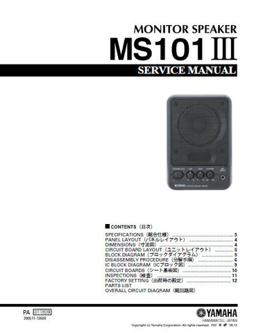 YAMAHA MS101III MONITOR SPEAKER SERVICE MANUAL INC BLK DIAG PCBS SCHEM DIAG AND PARTS LIST 17 PAGES ENG JAP