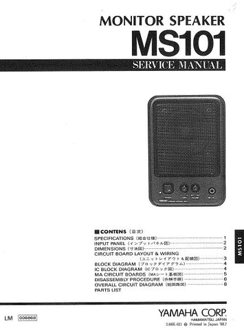 YAMAHA MS101 MONITOR SPEAKER SERVICE MANUAL INC BLK DIAG PCBS SCHEM DIAG AND PARTS LIST 13 PAGES ENG JAP