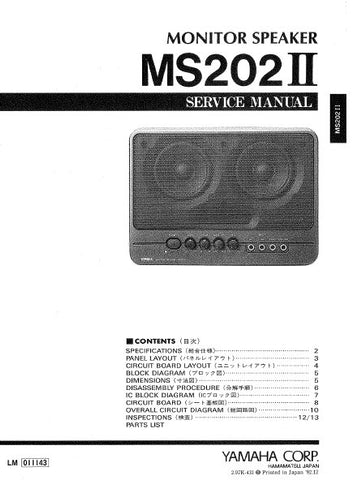 YAMAHA MS202II MONITOR SPEAKER SERVICE MANUAL INC BLK DIAG PCBS SCHEM DIAG AND PARTS LIST 19 PAGES ENG JAP