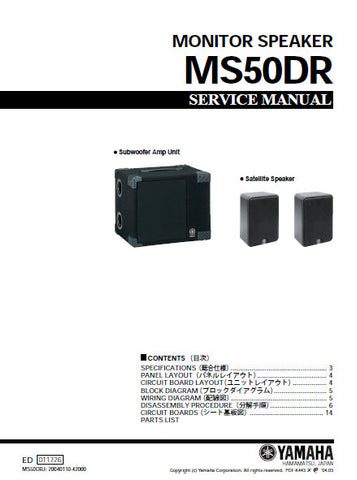 YAMAHA MS50DR MONITOR SPEAKER SERVICE MANUAL INC BLK DIAG PCBS AND PARTS LIST 20 PAGES ENG JAP