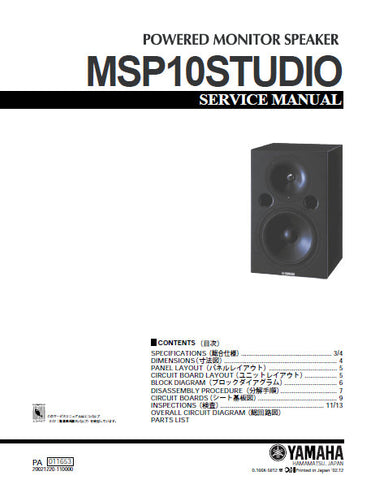 YAMAHA MSP10 STUDIO POWERED MONITOR SPEAKER SERVICE MANUAL INC BLK DIAG PCBS SCHEM DIAGS AND PARTS LIST 24 PAGES ENG JAP