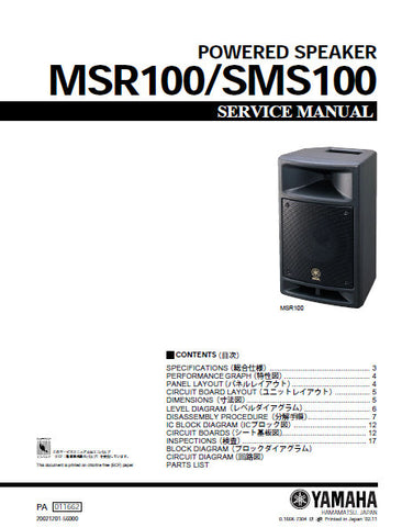 YAMAHA MSR100 SMS100 POWERED SPEAKER SERVICE MANUAL INC BLK DIAG PCBS SCHEM DIAGS AND PARTS LIST 32 PAGES ENG JAP