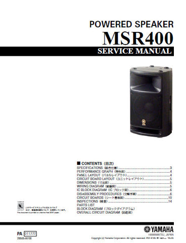 YAMAHA MSR400 POWERED SPEAKER SERVICE MANUAL INC BLK DIAG PCBS SCHEM DIAGS AND PARTS LIST 30 PAGES ENG JAP