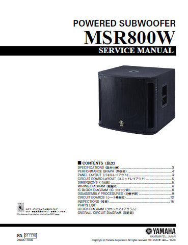 YAMAHA MSR800W POWERED SUBWOOFER SERVICE MANUAL INC BLK DIAG PCBS SCHEM DIAGS AND PARTS LIST 36 PAGES ENG JAP