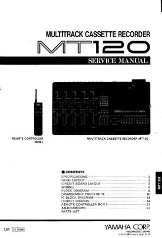 YAMAHA MT120 MULTITRACK CASSETTE RECORDER SERVICE MANUAL INC BLK DIAG PCBS SCHEM DIAGS AND PARTS LIST 32 PAGES ENG