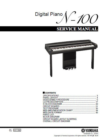 YAMAHA N-100 DIGITAL PIANO SERVICE MANUAL INC BLK DIAG PCBS SCHEM DIAGS AND PARTS LIST 69 PAGES ENG