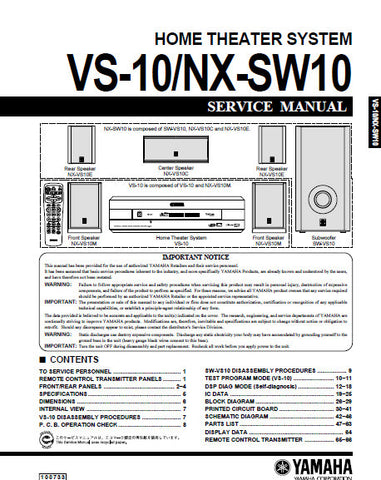 YAMAHA NX-SW10 VS-10 HOME THEATER SYSTEM SERVICE MANUAL INC BLK DIAG PCBS SCHEM DIAGS AND PARTS LIST 60 PAGES ENG
