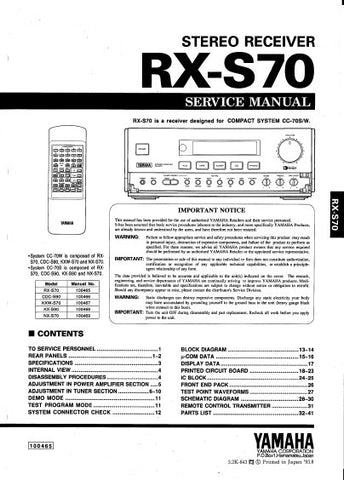 YAMAHA RX-S70 STEREO RECEIVER SERVICE MANUAL INC BLK DIAGS