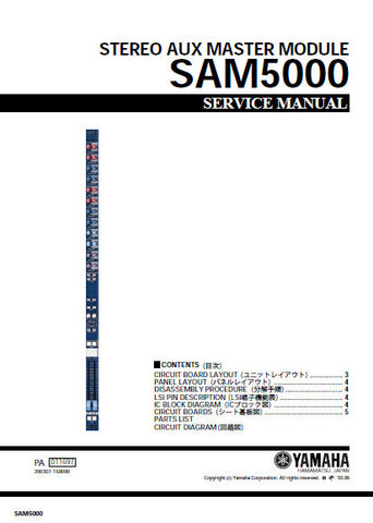 YAMAHA SAM5000 STEREO AUX MASTER MODULE SERVICE MANUAL INC SCHEM DIAGS AND PARTS LIST 33 PAGES ENG JAP
