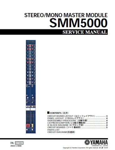 YAMAHA SMM5000 STEREO MONO MASTER MODULE SERVICE MANUAL INC SCHEM DIAGS AND PARTS LIST 44 PAGES ENG JAP