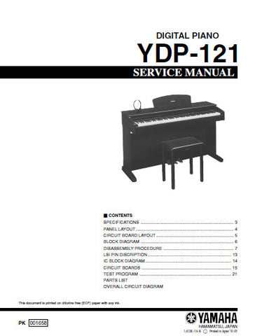 YAMAHA YDP-121 DIGITAL PIANO SERVICE MANUAL INC BLK DIAG PCBS SCHEM DIAGS AND PARTS LIST 51 PAGES ENG