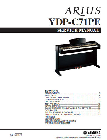 YAMAHA YDP-C71PE DIGITAL PIANO SERVICE MANUAL INC BLK DIAG PCBS SCHEM DIAGS AND PARTS LIST 87 PAGES ENG