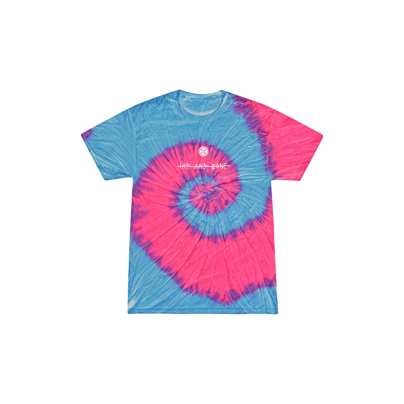 SPIDER TIE DYE TEE MULTI BLUE PINK FLOW - HIP AND BONE