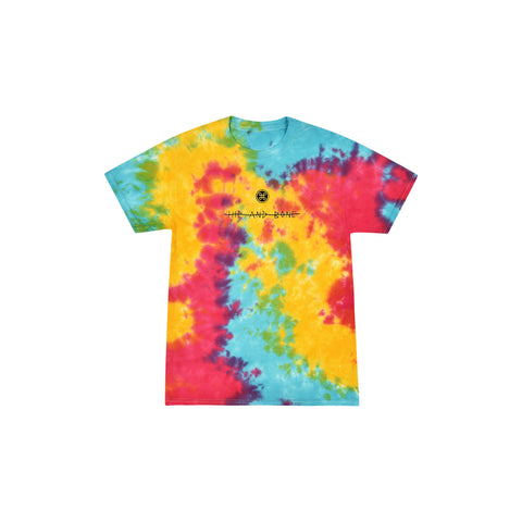 SPIDER TIE DYE TEE BLACK RAINBOW