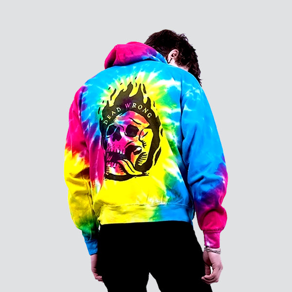 DEAD WRONG TIE DYE SPIRAL RAINBOW HOODIE | Tops | HIP AND BONE