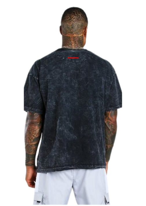 ESCOBART EMBROIDERED PATCH TEE ACID WASH BLACK