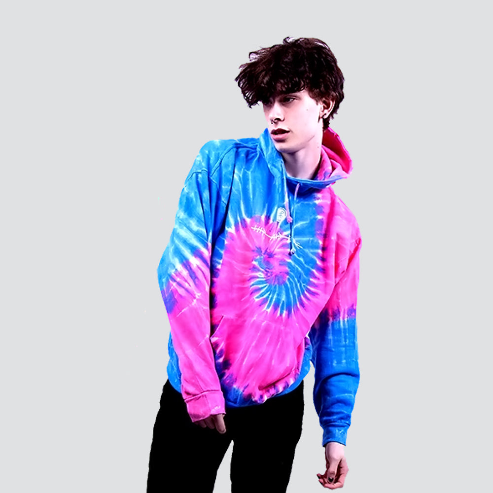ESCOBART TIE DYE SPIRAL PINK BLUE HOODIE - HIP AND BONE