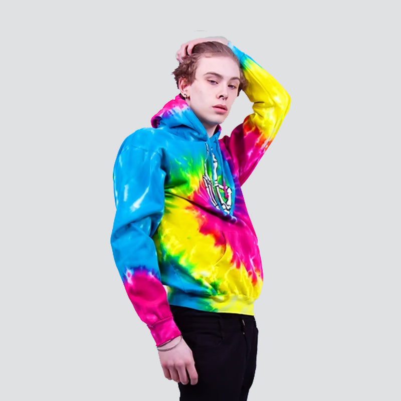 PEACE HAND HOODIE RAINBOW SPIRAL - HIP AND BONE