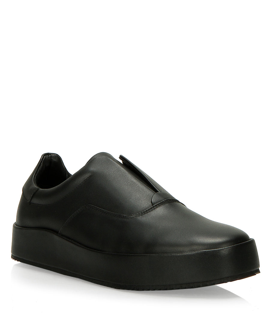 LEATHER SKATER SLIP-ON - BLACK - HIP AND BONE