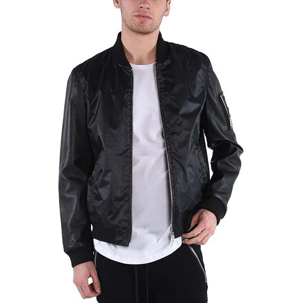 LEATHER SLEEVE BOMBER / BLACK