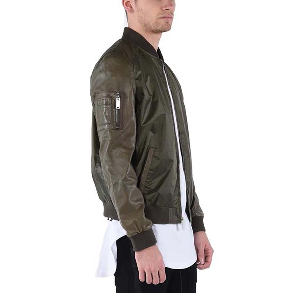 LEATHER SLEEVE BOMBER / OLIVE GREEN