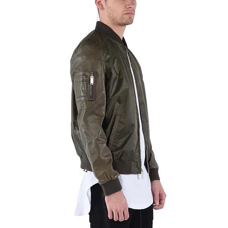 LEATHER SLEEVE BOMBER / OLIVE GREEN | outerwear | HIP AND BONE