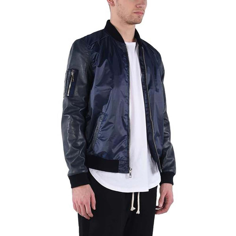LEATHER SLEEVE BOMBER JACKET / NAVY